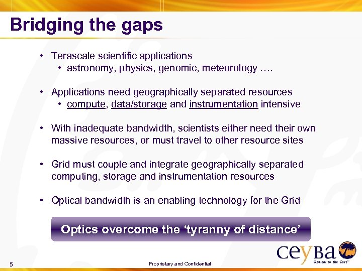 Bridging the gaps • Terascale scientific applications • astronomy, physics, genomic, meteorology …. •