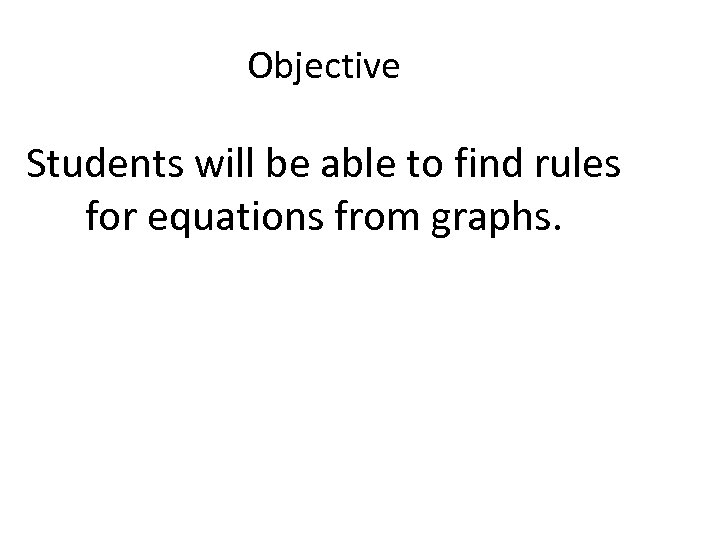 Objective Students will be able to find rules for equations from graphs.