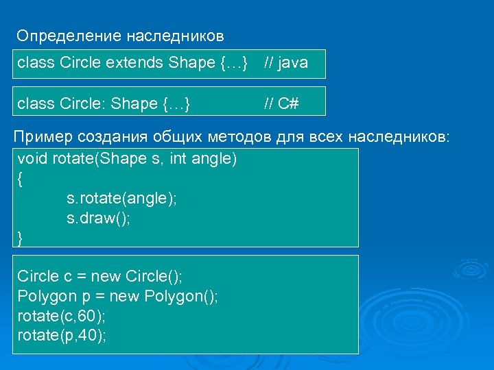 Определение наследников class Circle extends Shape {…} // java class Circle: Shape {…} //