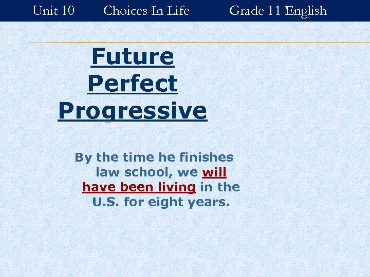 Unit 10 Choices In Life Grade 11 English Future Perfect Progressive By the time