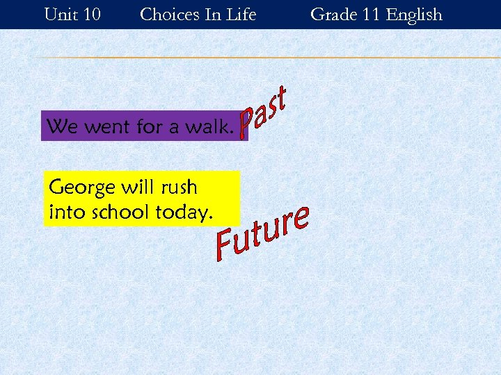 Unit 10 Choices In Life We went for a walk. George will rush into