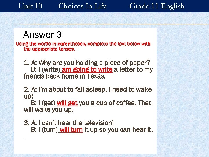 Unit 10 Choices In Life Grade 11 English Answer 3 Using the words in