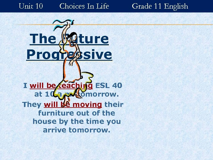 Unit 10 Choices In Life The Future Progressive I will be teaching ESL 40
