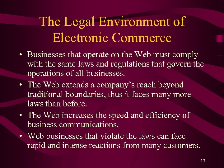 The Legal Environment of Electronic Commerce • Businesses that operate on the Web must
