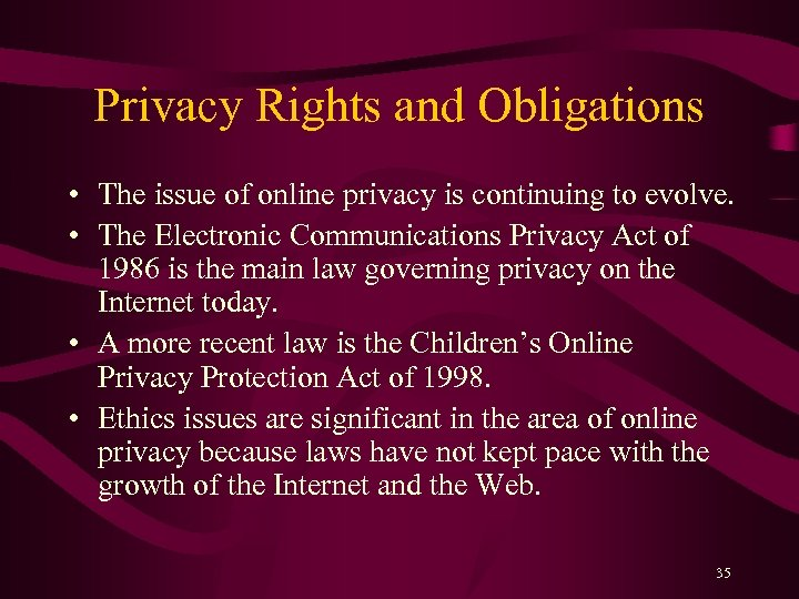 Privacy Rights and Obligations • The issue of online privacy is continuing to evolve.