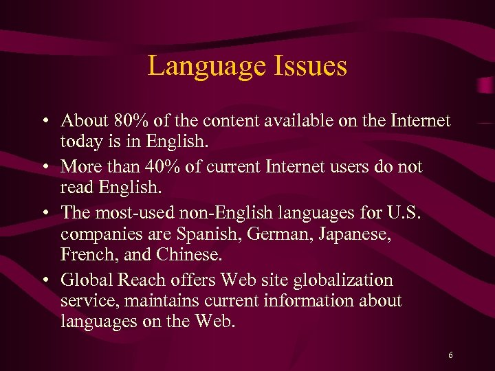 Language Issues • About 80% of the content available on the Internet today is