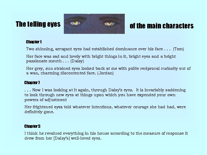 The telling eyes of the main characters Chapter 1 Two shinning, arrogant eyes had