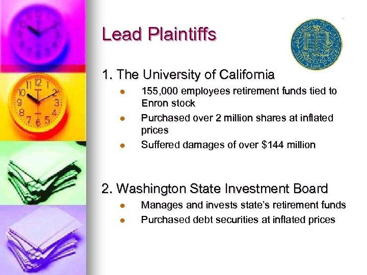 Lead Plaintiffs 1. The University of California l l l 155, 000 employees retirement