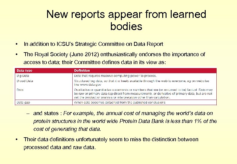 New reports appear from learned bodies • In addition to ICSU's Strategic Committee on