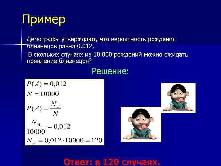 Пример Демографы утверждают, что вероятность рождения близнецов равна 0, 012. В скольких случаях из