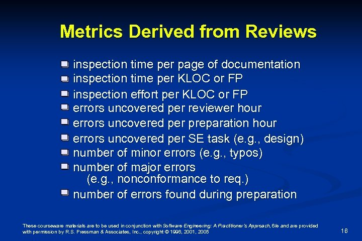 Metrics Derived from Reviews inspection time per page of documentation inspection time per KLOC