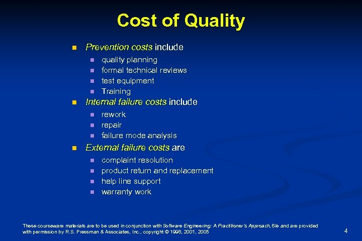 Cost of Quality n Prevention costs include n n n Internal failure costs include