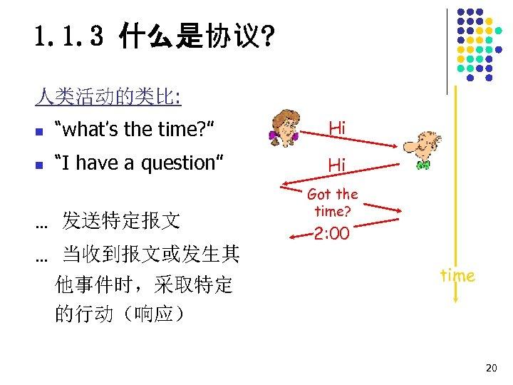 """1. 1. 3 什么是协议? 人类活动的类比: n """"what's the time? """" Hi n """"I have"""