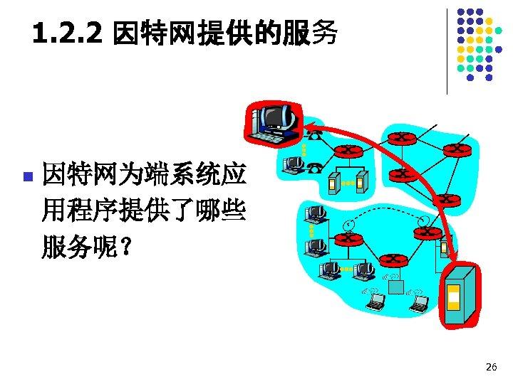 1. 2. 2 因特网提供的服务 n 因特网为端系统应 用程序提供了哪些 服务呢? 26