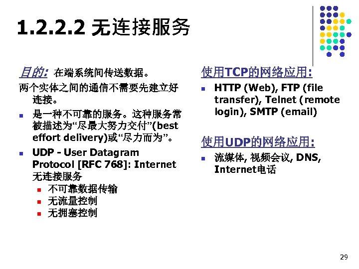 """1. 2. 2. 2 无连接服务 目的: 在端系统间传送数据。 两个实体之间的通信不需要先建立好 连接。 n 是一种不可靠的服务。这种服务常 被描述为""""尽最大努力交付""""(best effort delivery)或""""尽力而为""""。"""