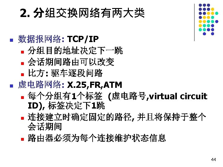 2. 分组交换网络有两大类 n n 数据报网络: TCP/IP n 分组目的地址决定下一跳 n 会话期间路由可以改变 n 比方: 驱车逐段问路 虚电路网络: