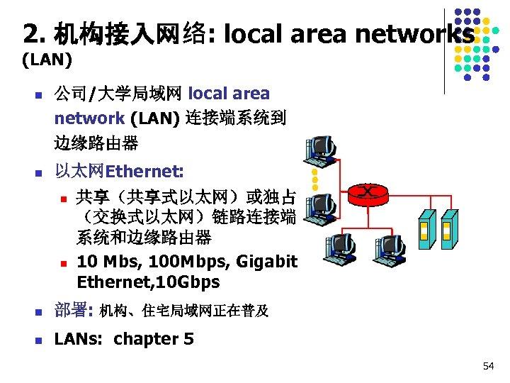2. 机构接入网络: local area networks (LAN) n n 公司/大学局域网 local area network (LAN) 连接端系统到