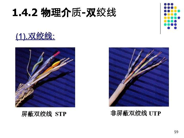 1. 4. 2 物理介质-双绞线 (1). 双绞线: 屏蔽双绞线 STP 非屏蔽双绞线 UTP 59