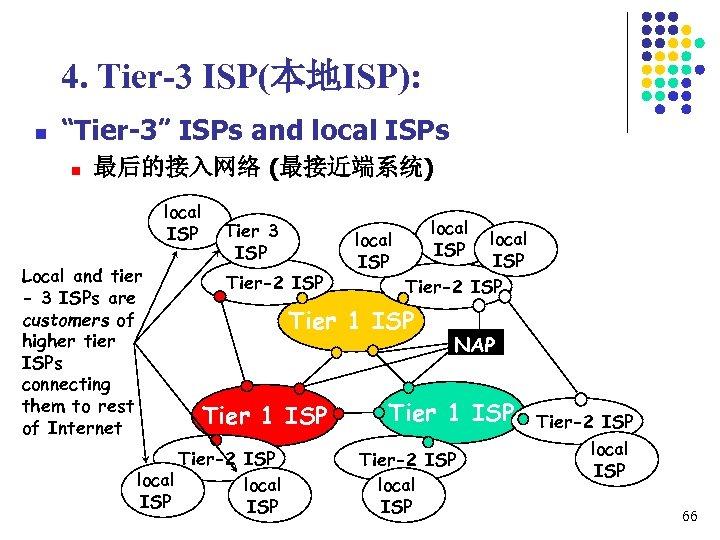 "4. Tier-3 ISP(本地ISP): n ""Tier-3"" ISPs and local ISPs n 最后的接入网络 (最接近端系统) local ISP"