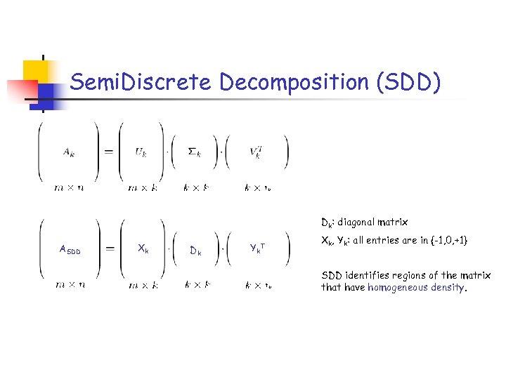 Semi. Discrete Decomposition (SDD) Dk: diagonal matrix ASDD Xk Dk Yk T Xk, Yk: