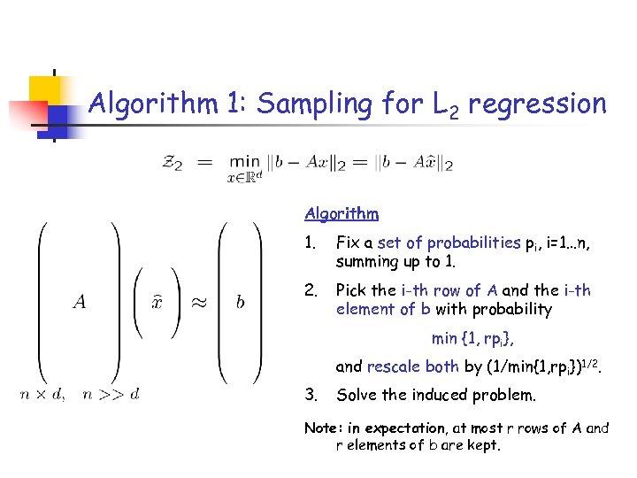 Algorithm 1: Sampling for L 2 regression Algorithm 1. Fix a set of probabilities