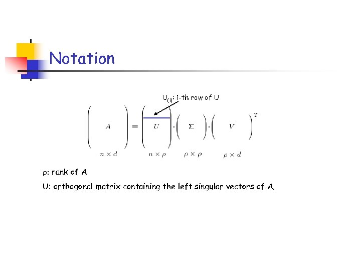 Notation U(i): i-th row of U : rank of A U: orthogonal matrix containing