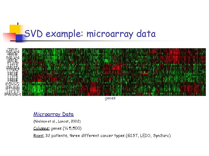 SVD example: microarray data genes Microarray Data (Nielsen et al. , Lancet, 2002) Columns: