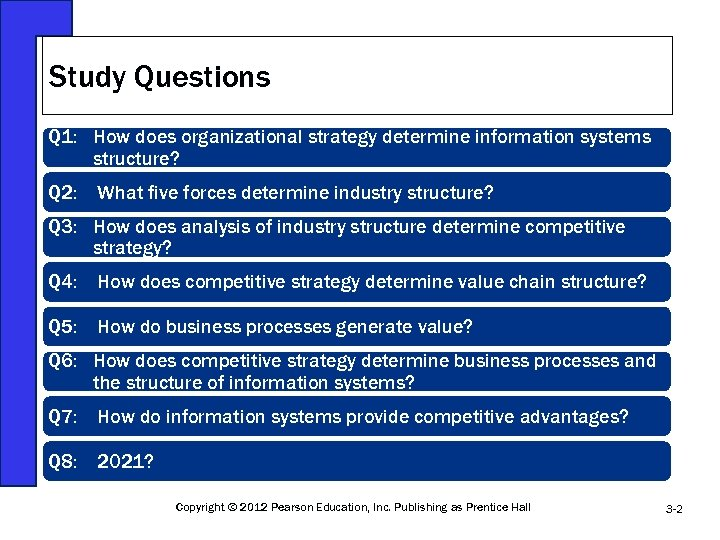 Study Questions Q 1: How does organizational strategy determine information systems structure? Q 2:
