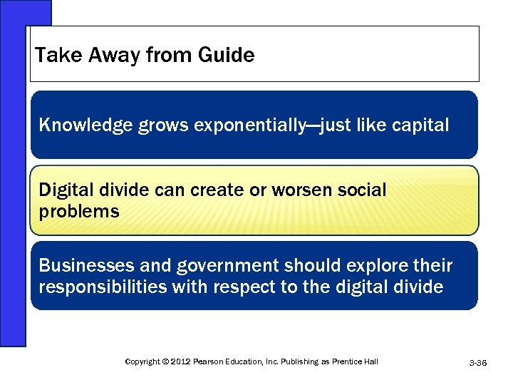 Take Away from Guide Knowledge grows exponentially—just like capital Digital divide can create or