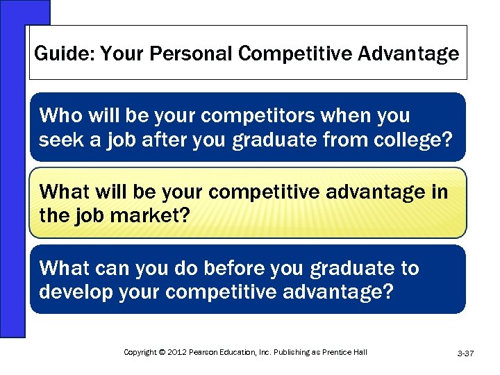 Guide: Your Personal Competitive Advantage Who will be your competitors when you seek a
