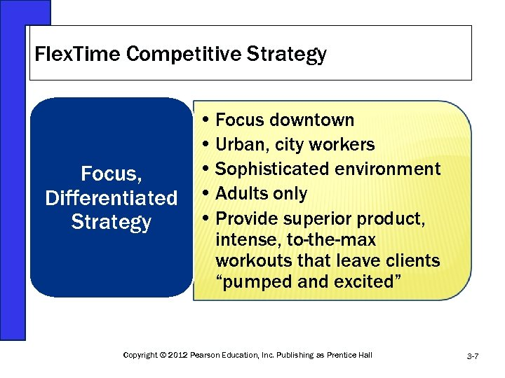 Flex. Time Competitive Strategy Focus, Differentiated Strategy • Focus downtown • Urban, city workers