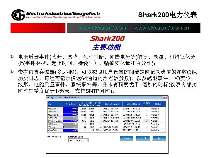 Shark 200电力仪表 www. electroind. com. cn Shark 200 主要功能 Ø 电能质量事件(骤升、骤降、短时中断、冲击电流等)捕捉、录波、和特征化分 析(事件类型、起止时间、持续时间、幅值变化量和百分比); Ø 带有内置存储器(多达