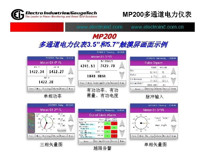 "MP 200多通道电力仪表 www. electroind. com. cn MP 200 多通道电力仪表 3. 5""和5. 7""触摸屏画面示例 单相功率 三相矢量图"