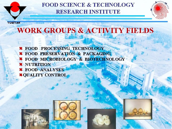 FOOD SCIENCE & TECHNOLOGY RESEARCH INSTITUTE TÜBİTAK WORK GROUPS & ACTIVITY FIELDS Ó FOOD
