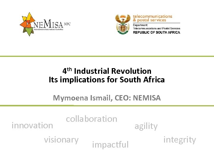 4 th Industrial Revolution Its implications for South Africa Mymoena Ismail, CEO: NEMISA innovation