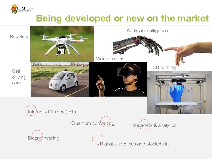 Being developed or new on the market Artificial intelligence Robotics Virtual reality 3 D