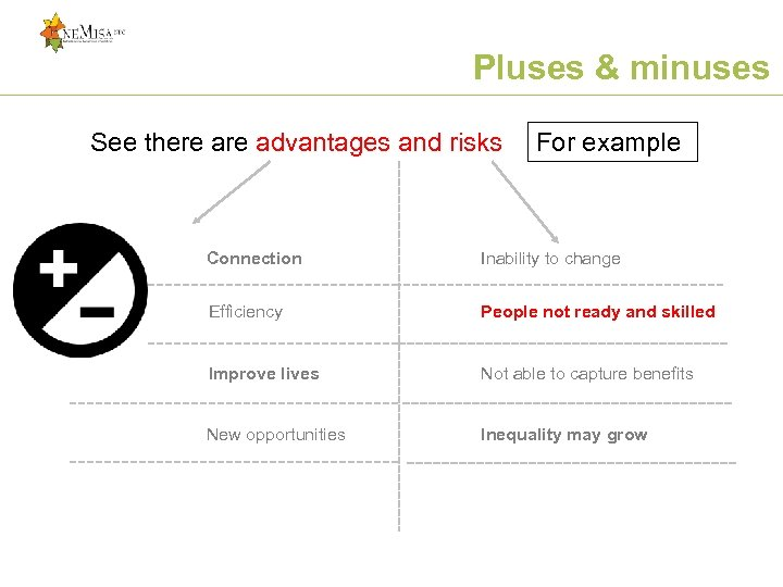 Pluses & minuses See there advantages and risks For example Connection Inability to change