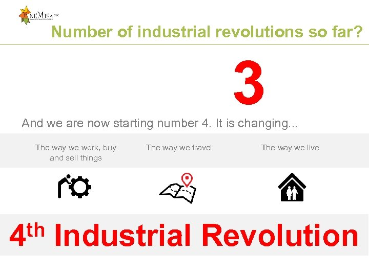 Number of industrial revolutions so far? 3 And we are now starting number 4.