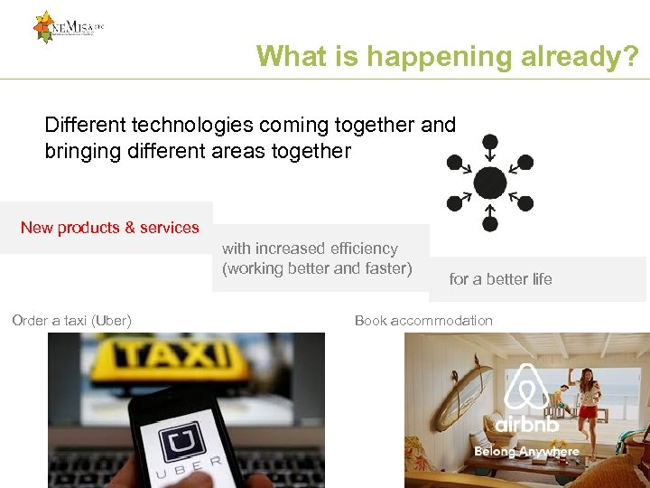 What is happening already? Different technologies coming together and bringing different areas together New