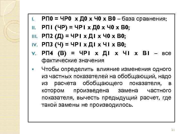 I. III. IV. V. § РП 0 = ЧР 0 х Д 0 х