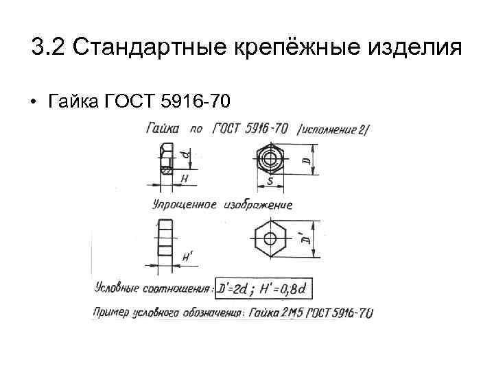 3. 2 Стандартные крепёжные изделия • Гайка ГОСТ 5916 -70