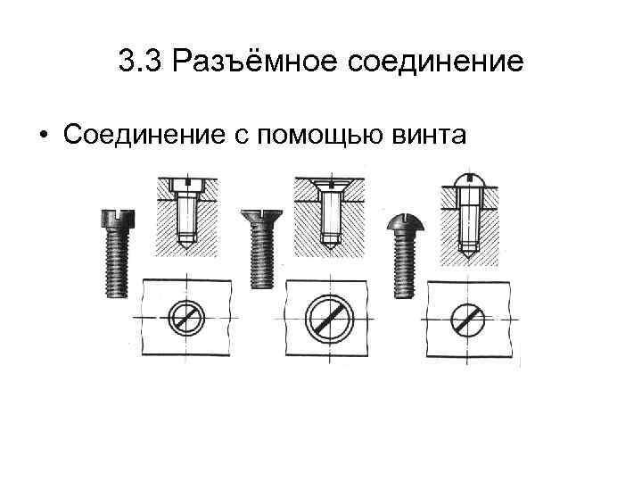 3. 3 Разъёмное соединение • Соединение с помощью винта