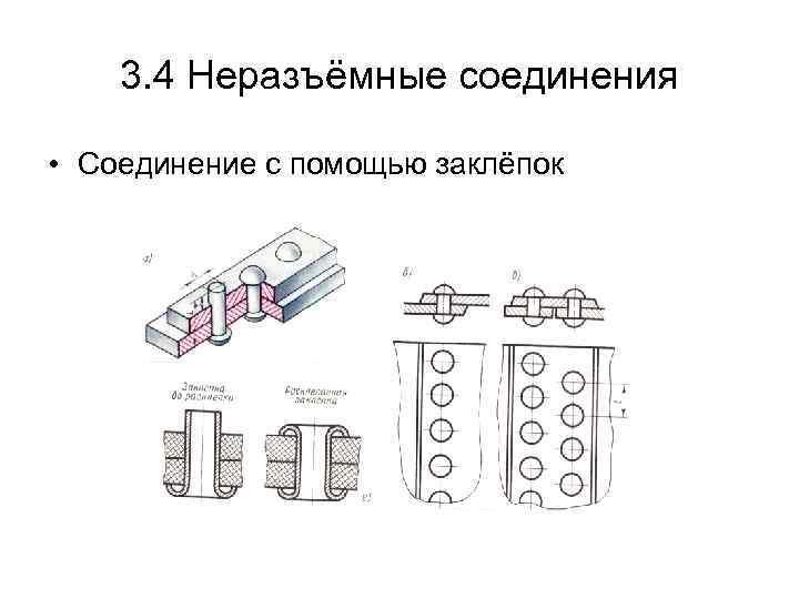 3. 4 Неразъёмные соединения • Соединение с помощью заклёпок