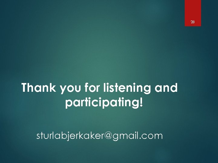 28 Thank you for listening and participating! sturlabjerkaker@gmail. com