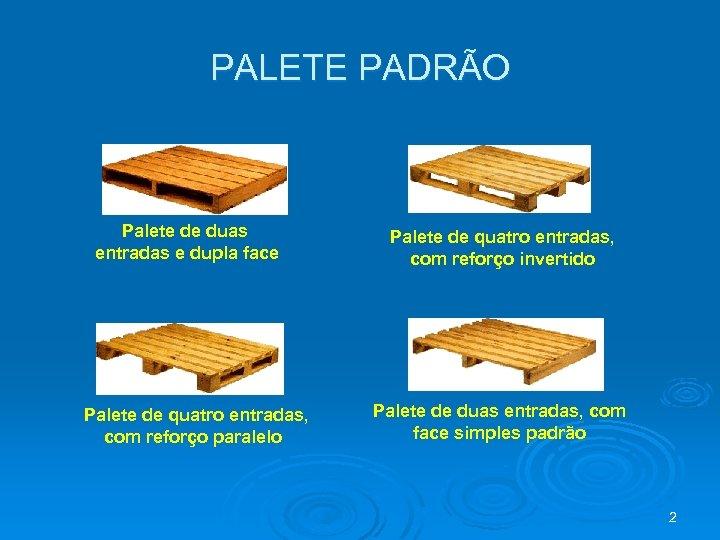 PALETE PADRÃO Palete de duas entradas e dupla face Palete de quatro entradas, com