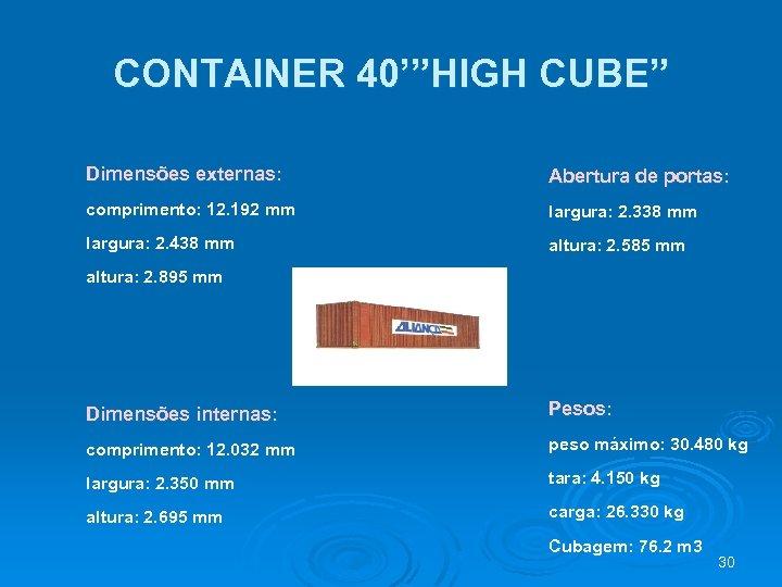 """CONTAINER 40'""""HIGH CUBE"""" Dimensões externas: Abertura de portas: comprimento: 12. 192 mm largura: 2."""