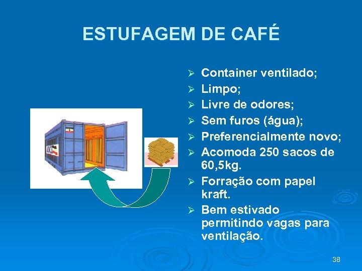 ESTUFAGEM DE CAFÉ Ø Ø Ø Ø Container ventilado; Limpo; Livre de odores; Sem