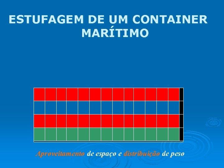 ESTUFAGEM DE UM CONTAINER MARÍTIMO Aproveitamento de espaço e distribuição de peso