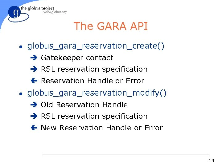 The GARA API l globus_gara_reservation_create() è Gatekeeper contact è RSL reservation specification ç Reservation
