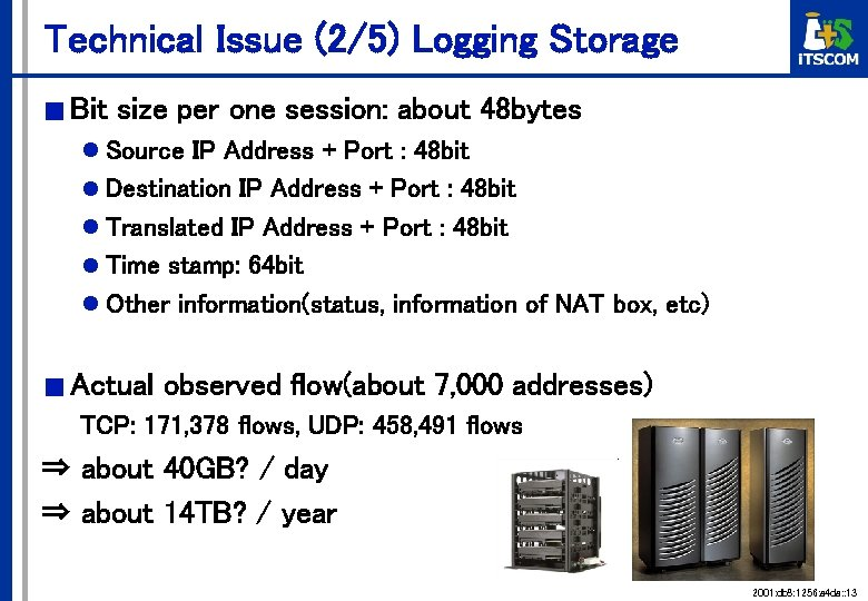 Technical Issue (2/5) Logging Storage ■ Bit size per one session: about 48 bytes